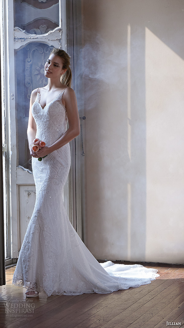 jillian 2016 wedding dresses spagetti strap v neckline slim fit embellished trumpet beautiful mermaid wedding dress cristal