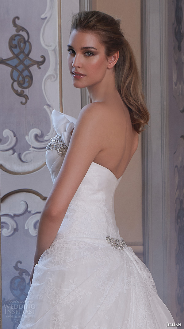 jillian 2016 wedding dresses strapless straight across  neckline drop waist a line wedding dress carrie back view closeup