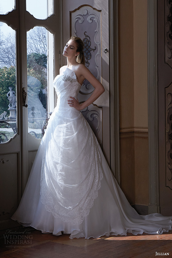 jillian 2016 wedding dresses strapless straight across neckline drop waist a line wedding dress carrie