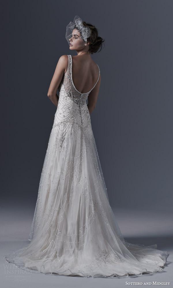 sottero and midgley bridal fall 2015 2016 gwyneth vintage glamour style wedding dress sleeveless pearl swarovski crystal beading back view train