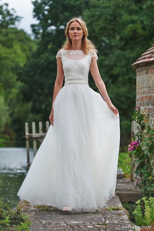 2a6d25c3cdd0 ... wedding dress ruched bodice. stephanie allin bridal 2016 dominique  illusion shrug top tulle skirt