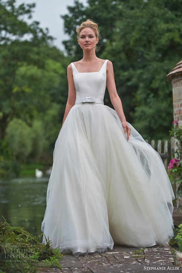 stephanie allin bridal 2016 nicola sleeveless wedding dress angled square necline a line skirt belt