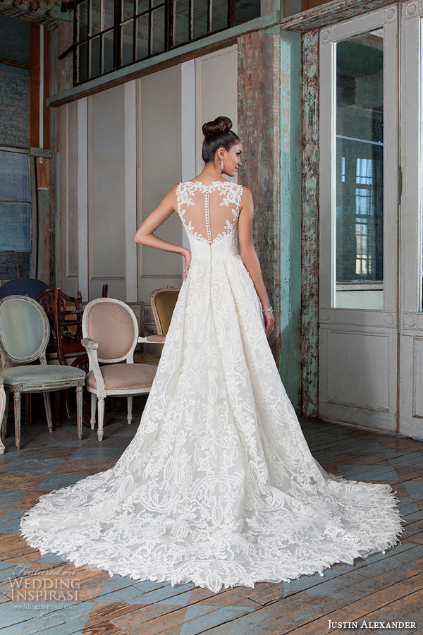 justin alexander signature spring 2016 beautiful a line high low mullet wedding dress illusion sweetheart neckline lace embroidery gown 9818 sheer keyhole back
