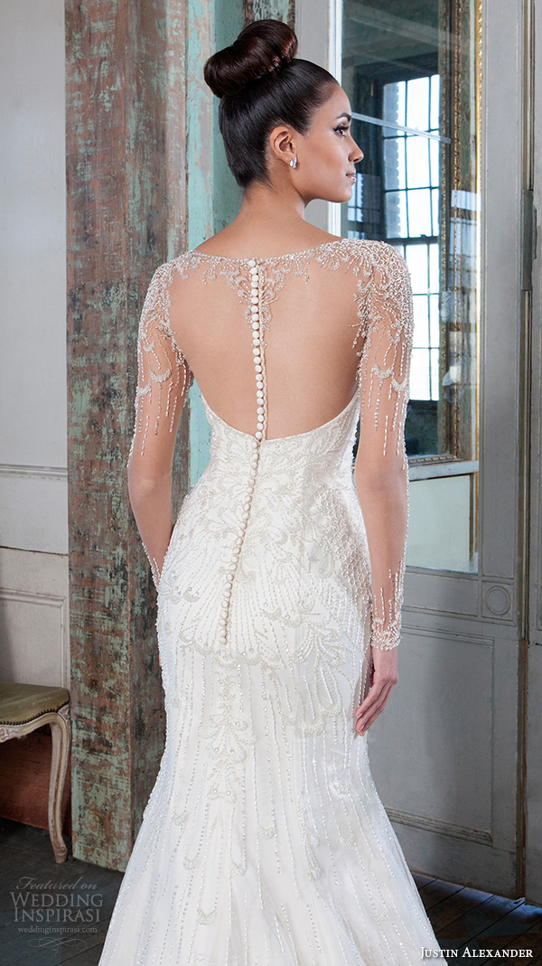 justin alexander signature spring 2016 beautiful mermaid wedding dress fit flare trumpet jeweled illusion bateau neckline long sleeves gown 9817 sheer back chapel train closeup