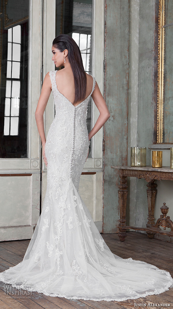 justin alexander signature spring 2016 beautiful mermaid wedding dress fit flare trumpet sweetheart neckline beaded embroidery 9810 v back