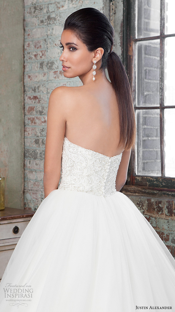 justin alexander signature spring 2016 gorgeous wedding ball gown strapless beaded embroidery bodice 9811 back view closeup