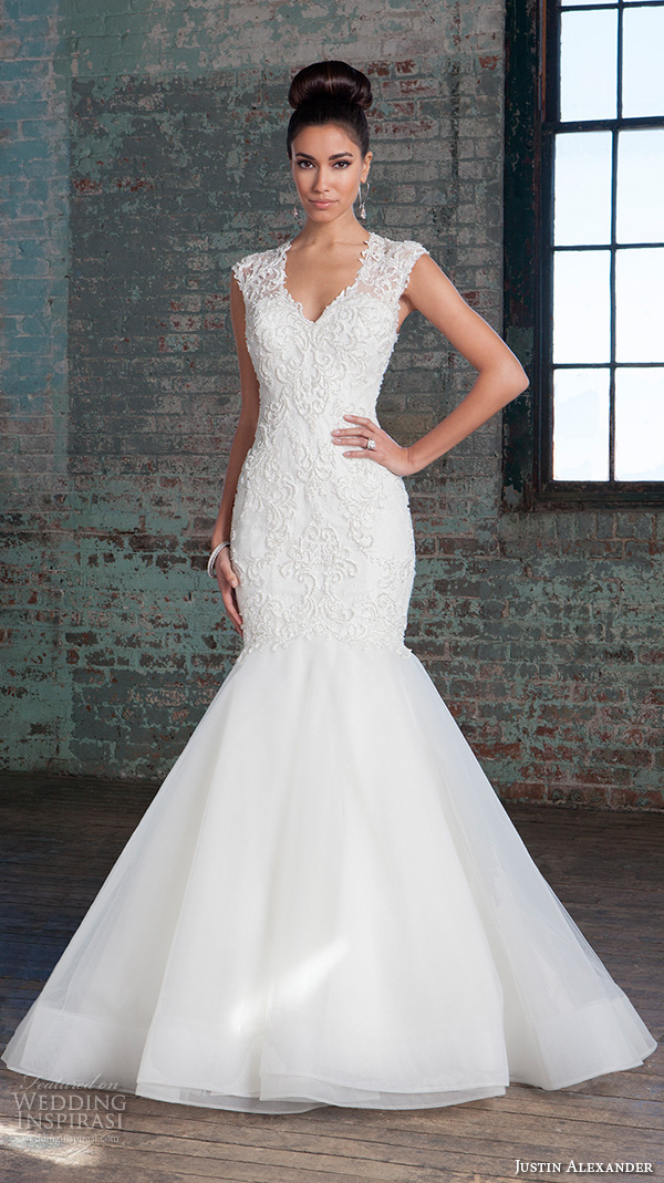 justin alexander signature spring 2016 stunning mermaid wedding dress v neckline sleeveless lace embroidered gown 9812