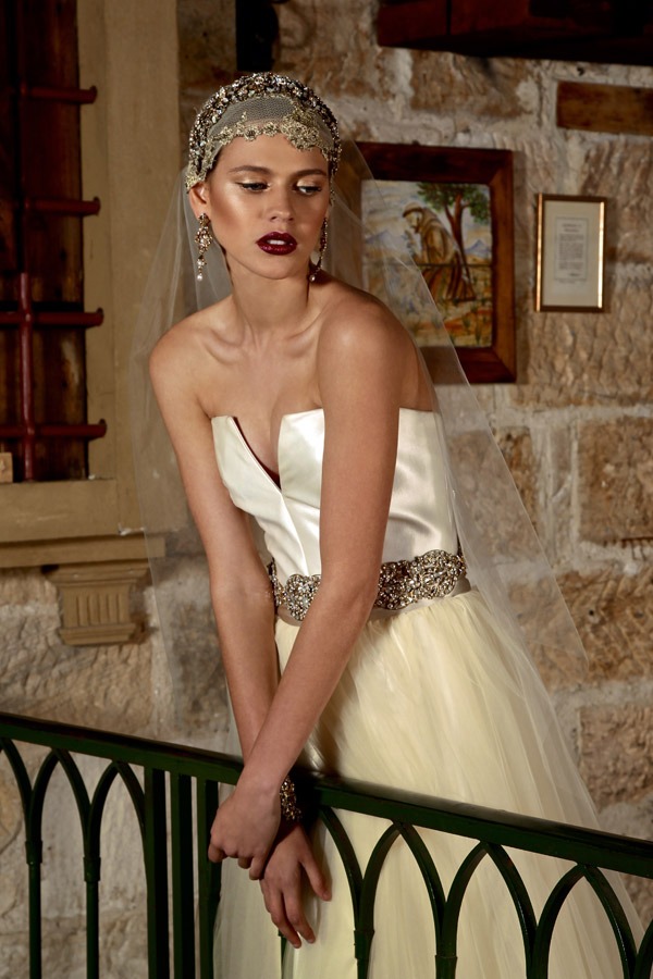 the bridal bazaar showcase australian designer couturier strapless wedding dress juliet cap