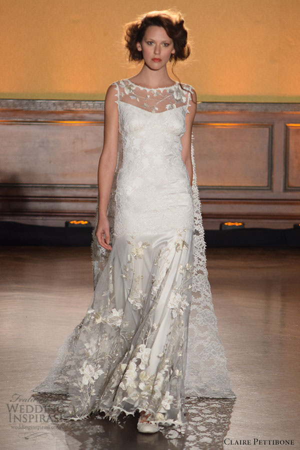 claire pettibone fall 2016 wedding dresses bridal week runway beautiful sheath dress sheer jewel neckline