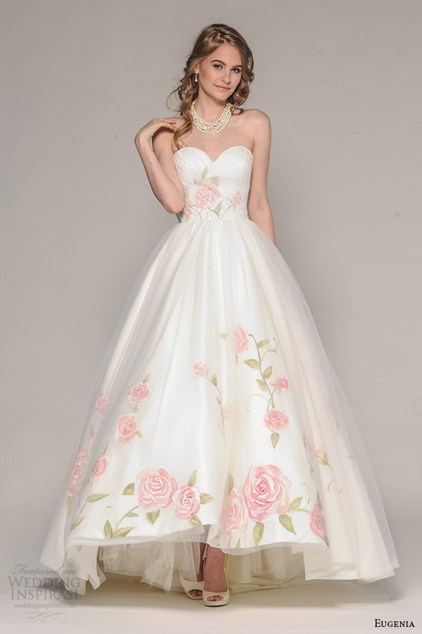 eugenia couture fall 2016 bridal strapless sweetheart neckline pretty hand painted floral accent wedding ball gown dress style rosalia