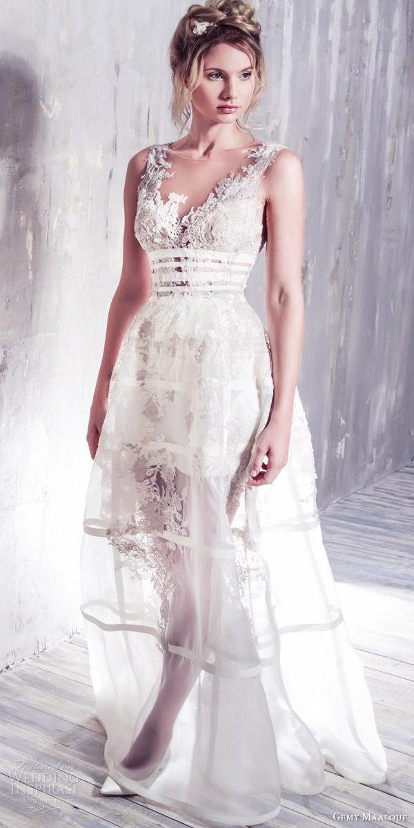 gemy maalouf bridal 2016 romantic sleeveless wedding dress illusion jewel neckline lace bodice overskirt