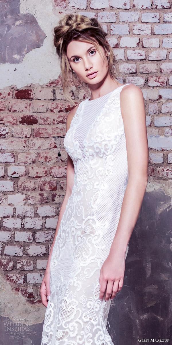 gemy maalouf bridal 2016 sleeveless high jewel neck sheath wedding dress close up bodice