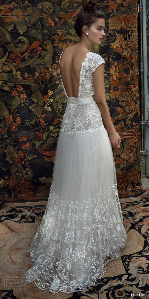 lihi hod bridal 2016 aria cap sleeve wedding dress lace embellished bodice skirt belt back view