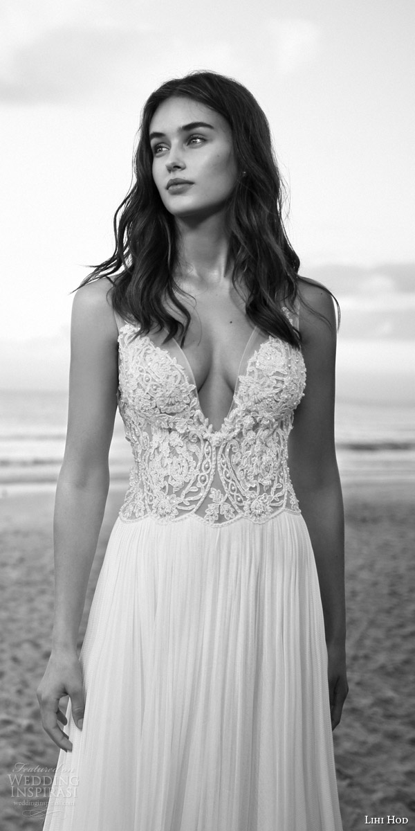 lihi hod bridal 2016 rose quartz wedding dress sleeveless illusion straps v neckline romantic beaded bodice