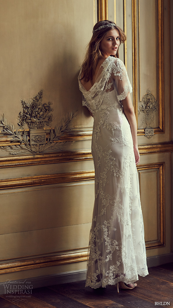 bhldn spring 2016 flutter sleeves illusion jewel semi sweetheart neckline fully embellished sheath column lace wedding dress cowl back marchesa (estella) mv