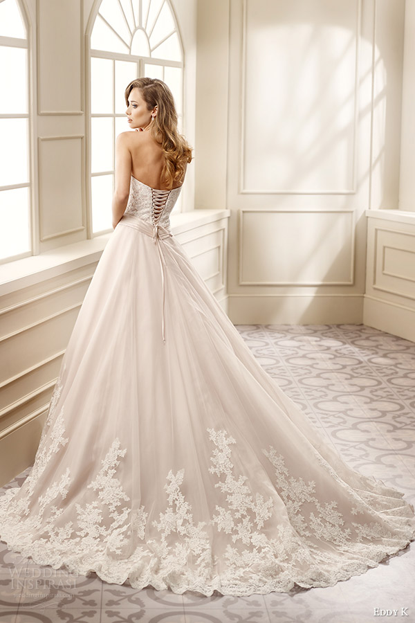 eddy k bridal 2016 strapless sweetheart lace bodice a line wedding dress (ek1061) bv corset back medium train romantic classic