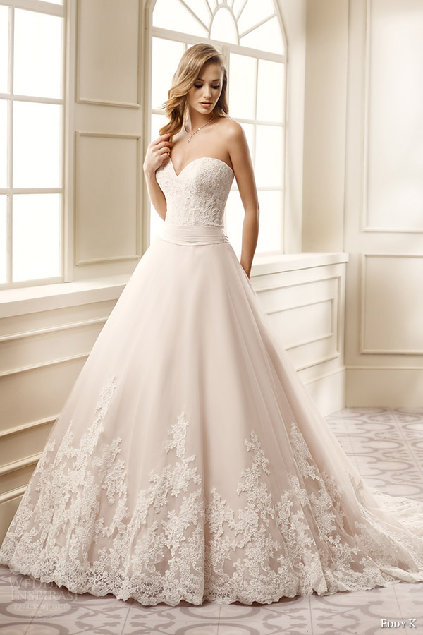 eddy k bridal 2016 strapless sweetheart lace bodice a line wedding dress (ek1061) mv romantic classic
