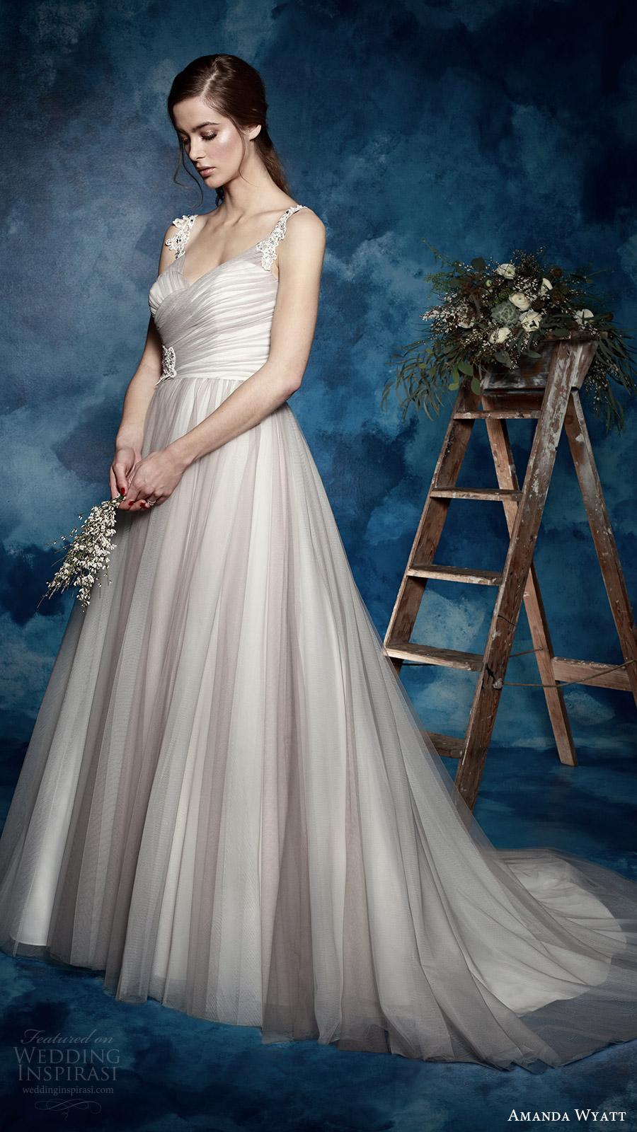 amanda wyatt bridal 2017 sleeveless lace straps vneck ruched surplic bodice a line wedding dress (north) fv grey color romantic train