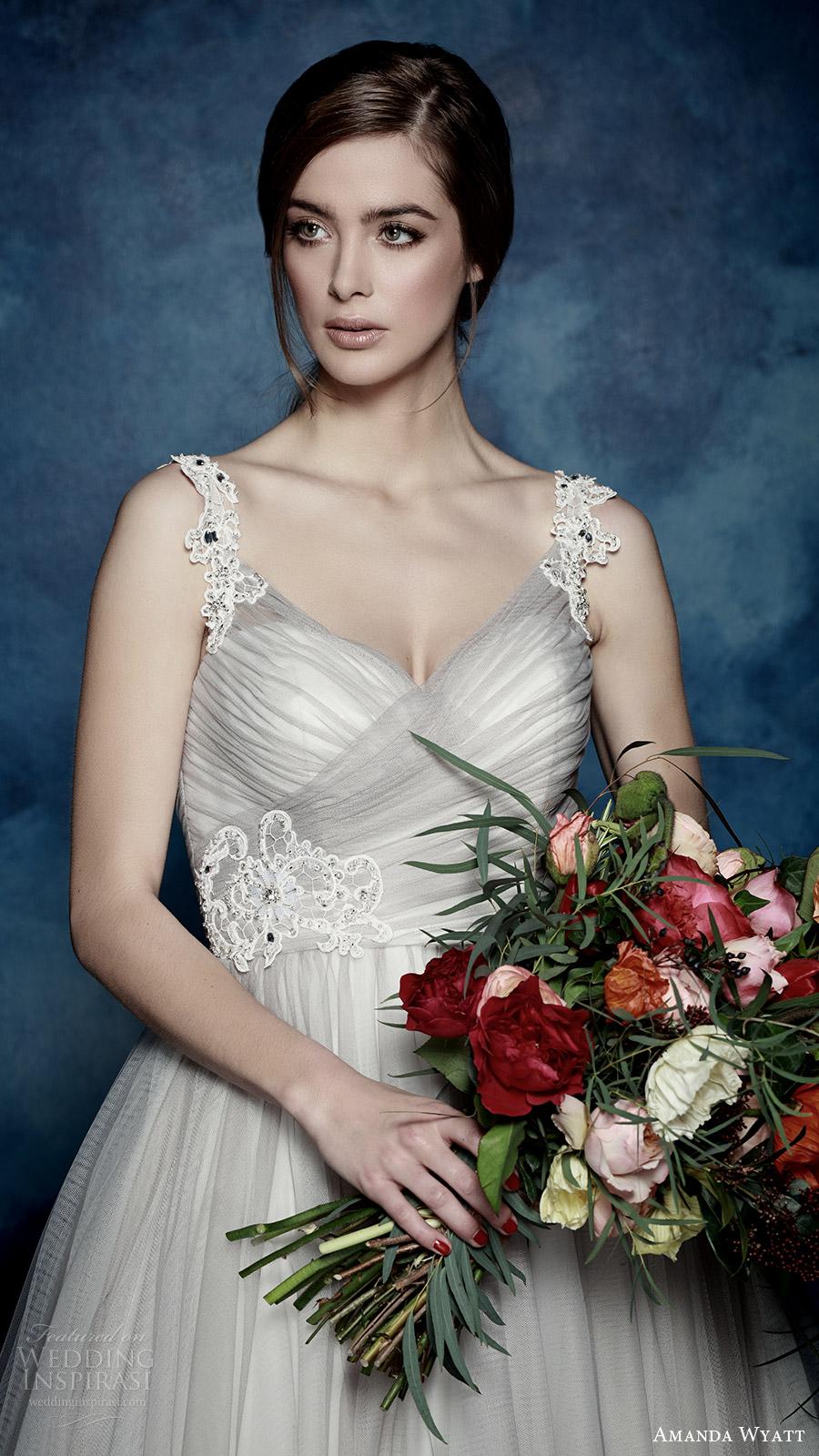 amanda wyatt bridal 2017 sleeveless lace straps vneck ruched surplic bodice a line wedding dress (north) zv grey color romantic train