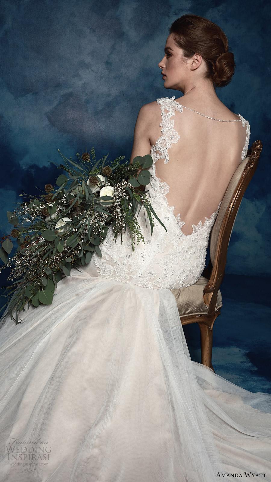 amanda wyatt bridal 2017 sleeveless sweetheart illusion jewel trumpet wedding dress (paola) bv low back