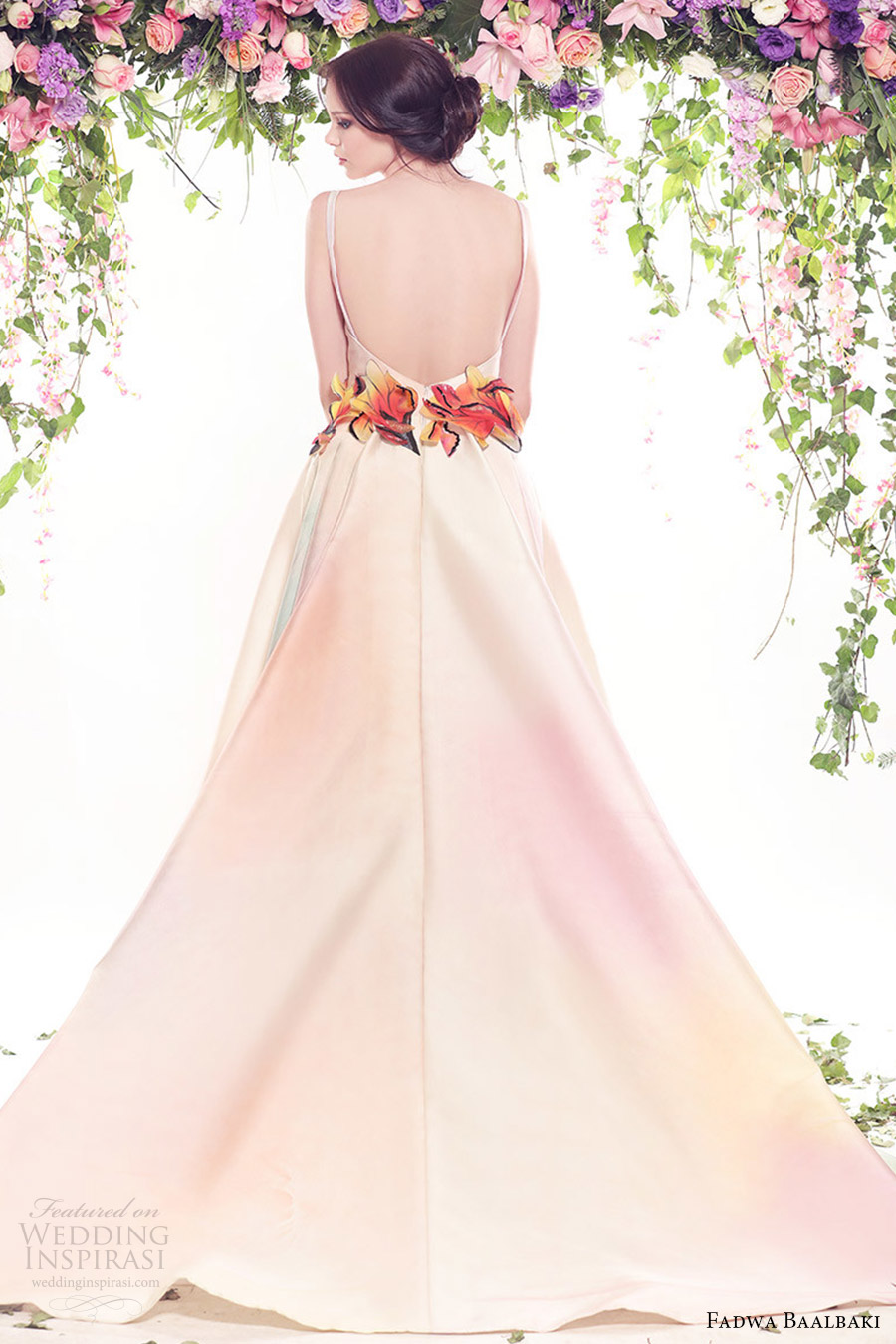 fadwa baalbaki spring 2016 couture sleeveless bateau neck ball gown multi color floral bv low back train