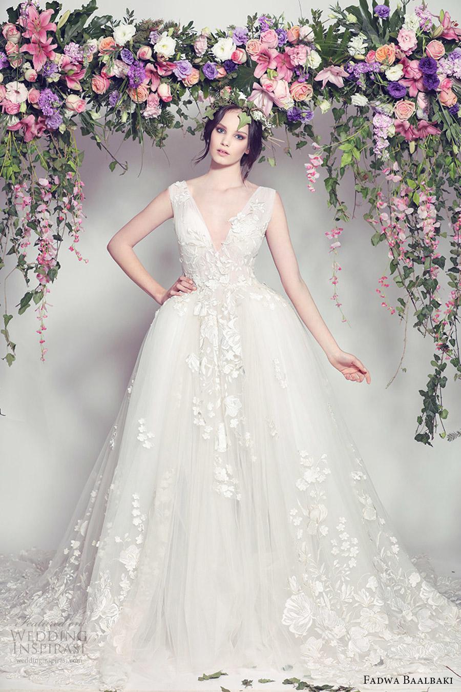 fadwa baalbaki spring 2016 couture sleeveless v neck ball gown wedding dress (01) mv romantic