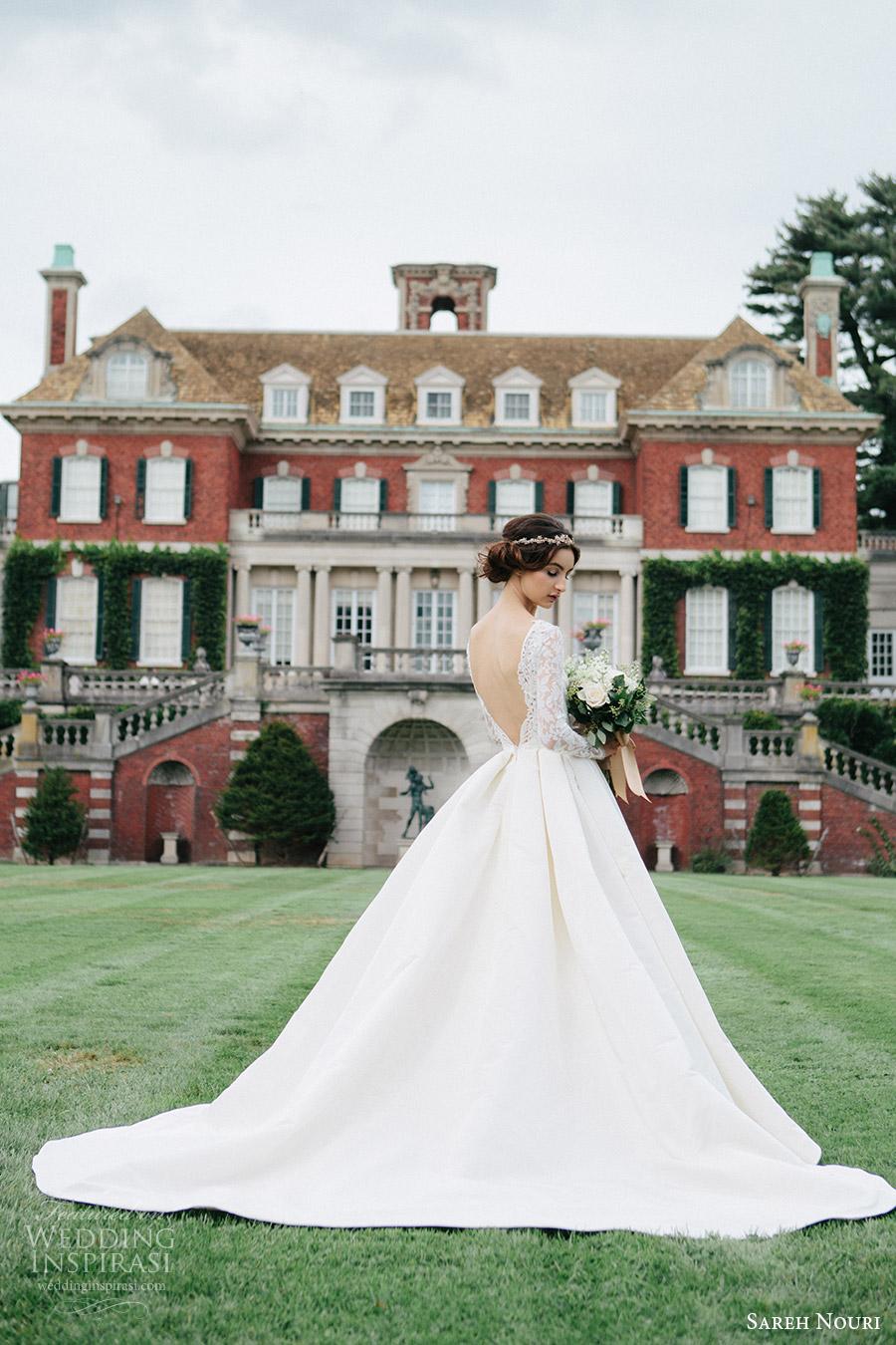 sareh nouri bridal fall 2016 long sleeve deep vneck aline ball gown wedding dress (laylee) bv  plunging back train romantic elegant