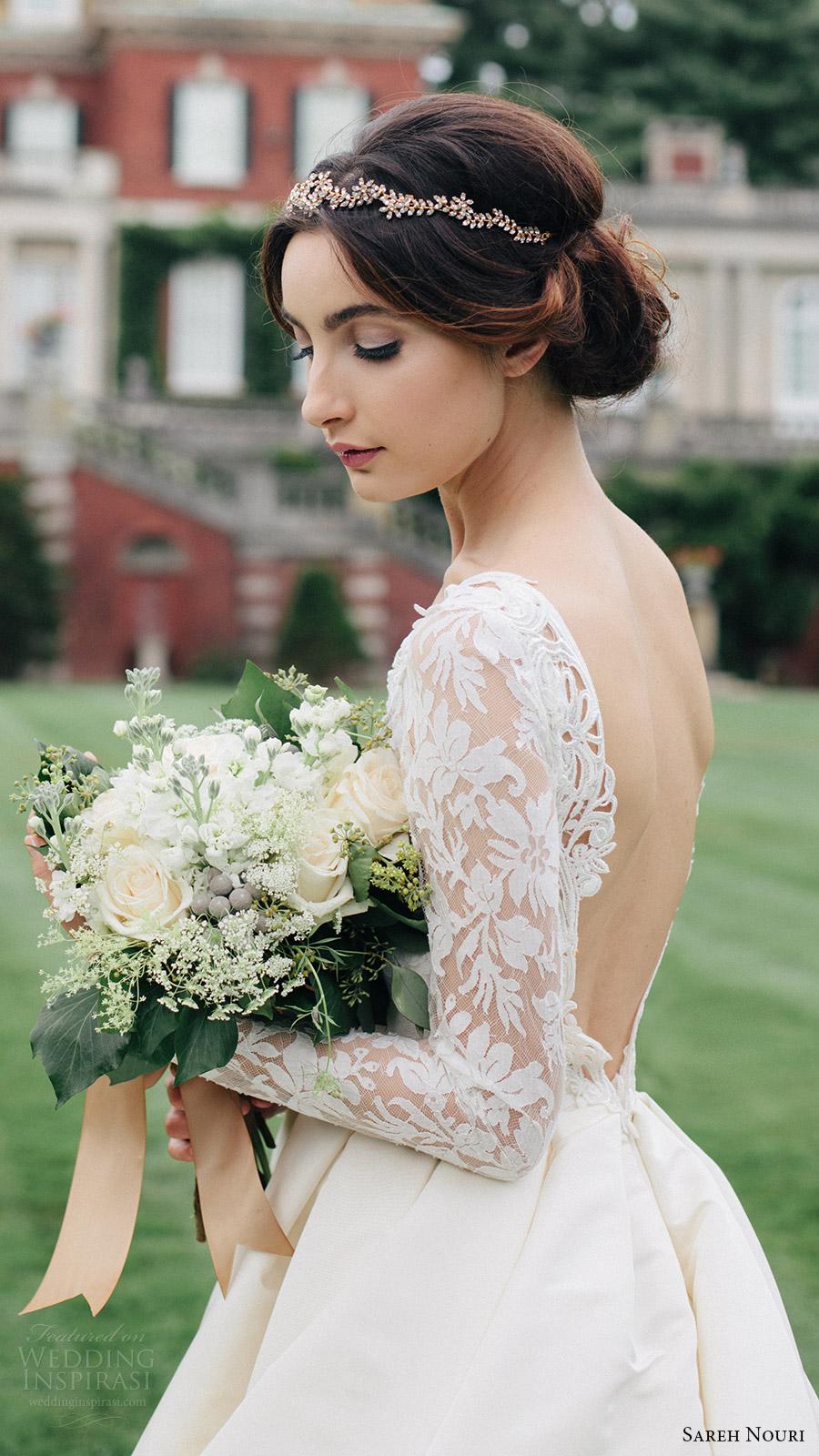 sareh nouri bridal fall 2016 long sleeve deep vneck aline ball gown wedding dress (laylee) sv plunging back train romantic elegant