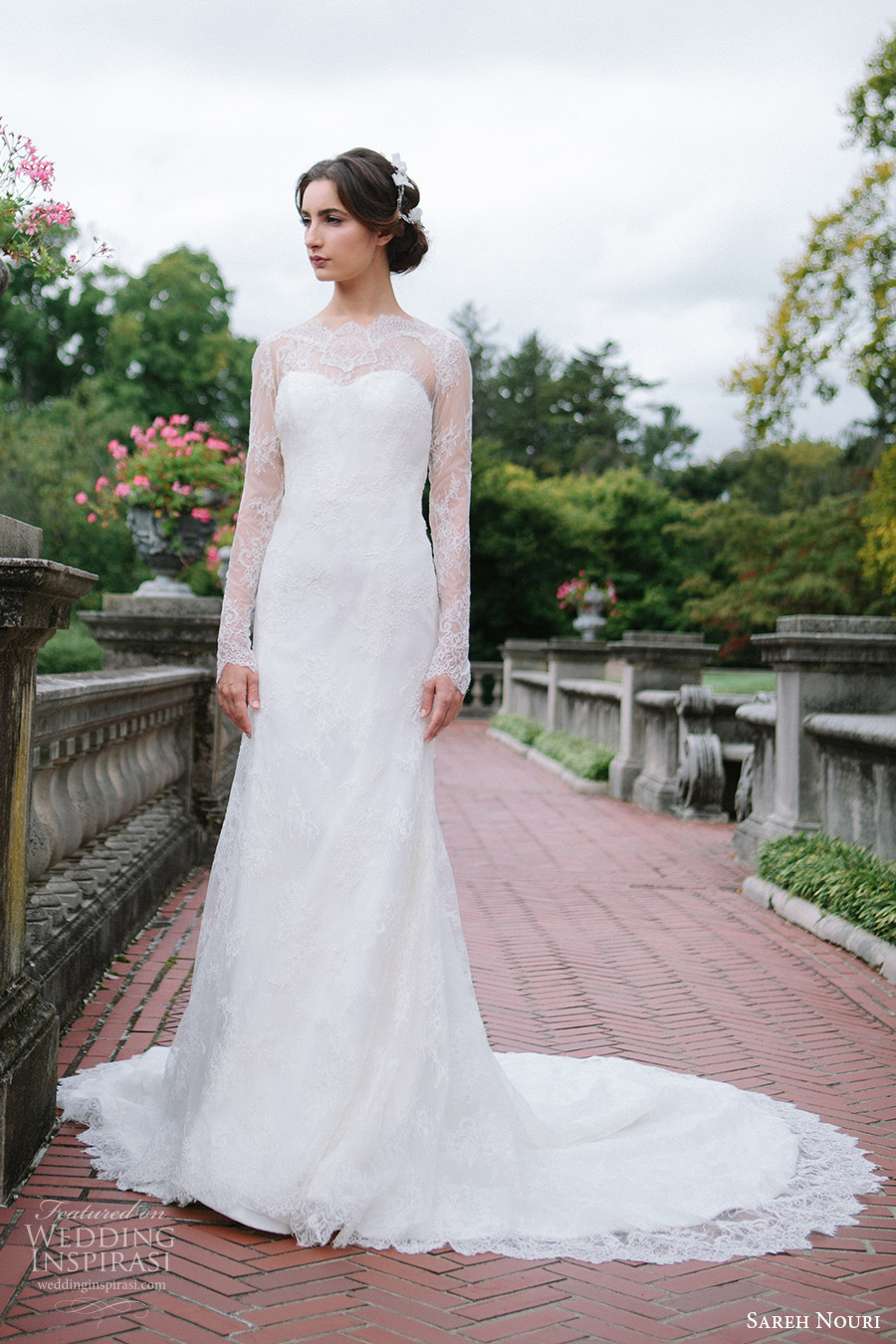 sareh nouri bridal fall 2016 long sleeves sweetheart illusion jewel neck lace wedding dress (miriam) fv train elegant romantic
