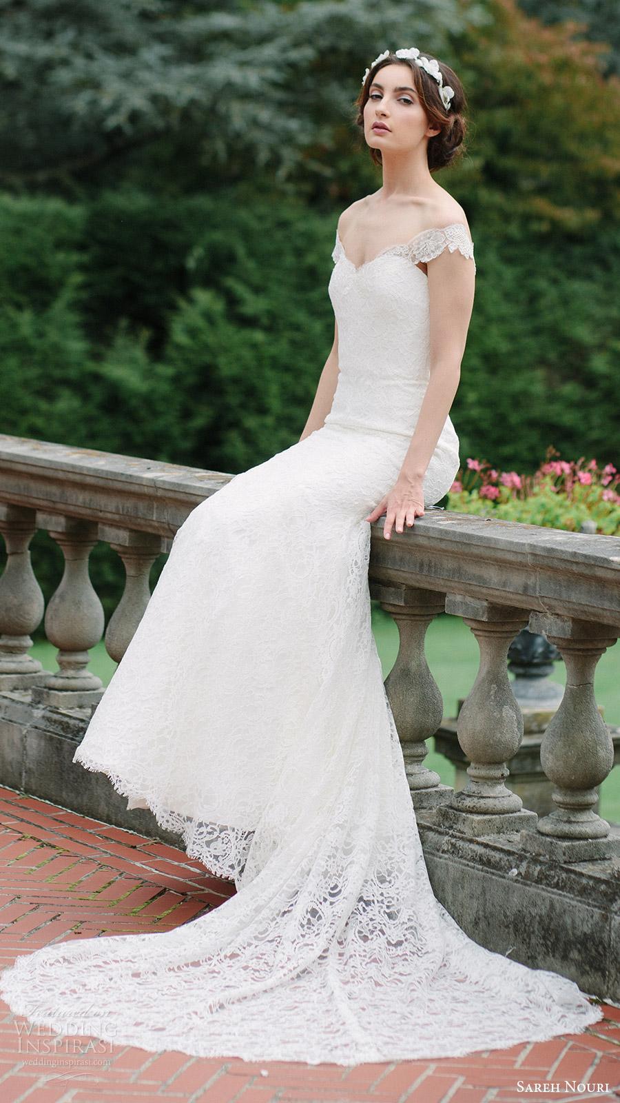 sareh nouri bridal fall 2016 short sleeves off shoulder trumpet mermaid lace wedding dress (jannan) sv train romantic elegant