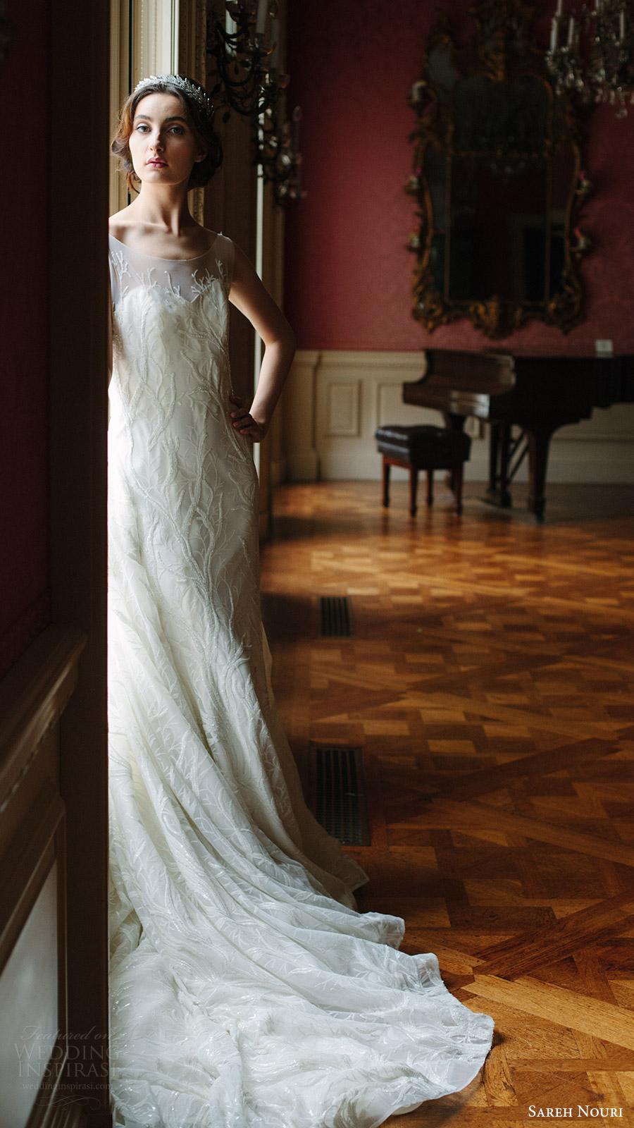 sareh nouri bridal fall 2016 sleeveless sweetheart illusion scoop neck lace wedding dress (shiraz) fv train elegant