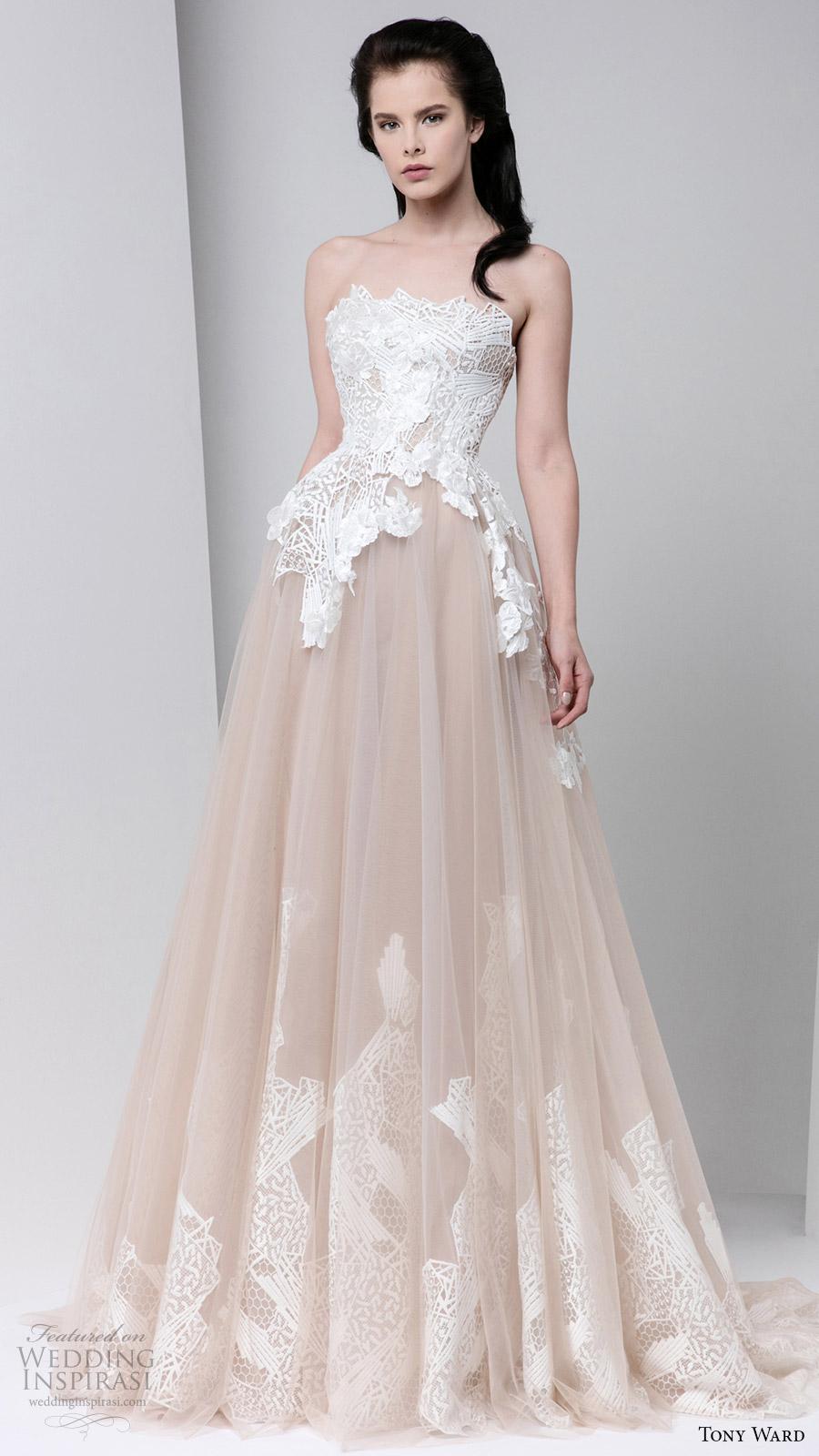 tony ward fall winter 2016 2017 rtw strapless ball gown off white evening dress wedding inspiration