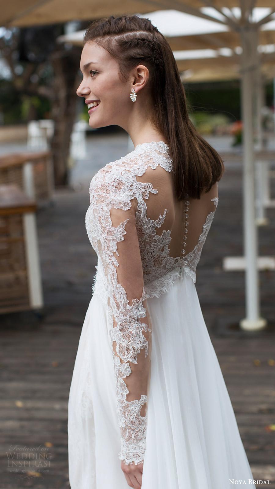 noya bridal 2016 3 long sleeves sweetheart illusion jewel neck trumpet sheath lace wedding dress (1208) bv sheer back overskirt train romantic