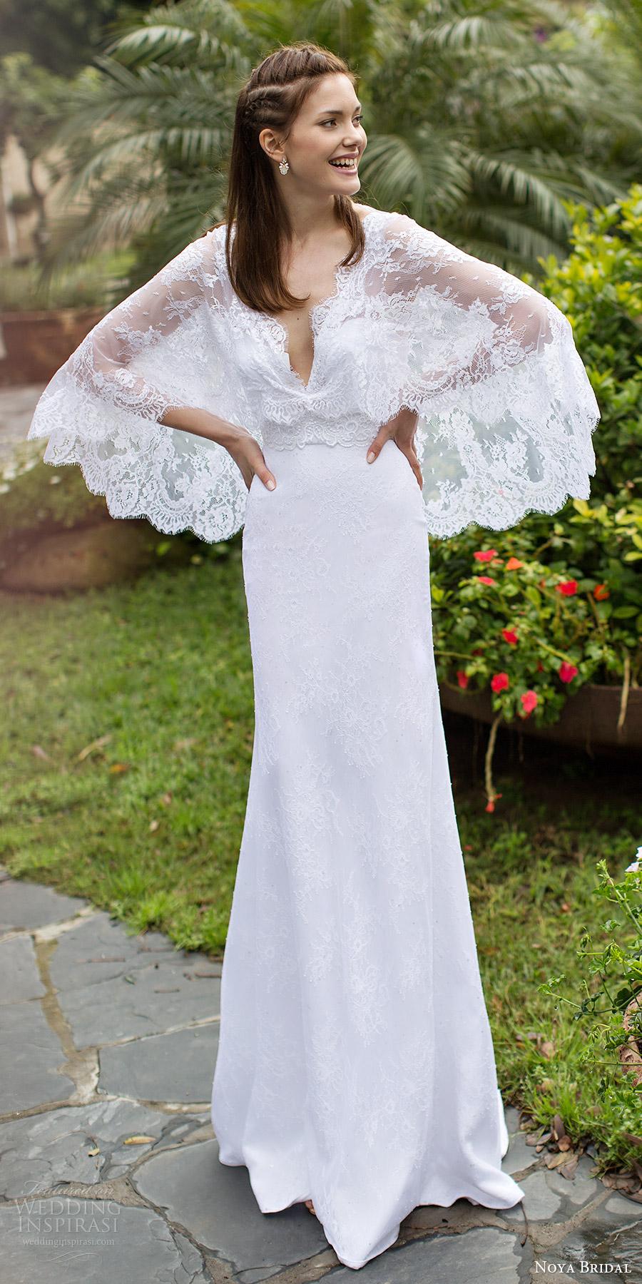 noya bridal 2016 cape flutter sleeves v neck sheath lace wedding dress (1207) mv bohemian romantic