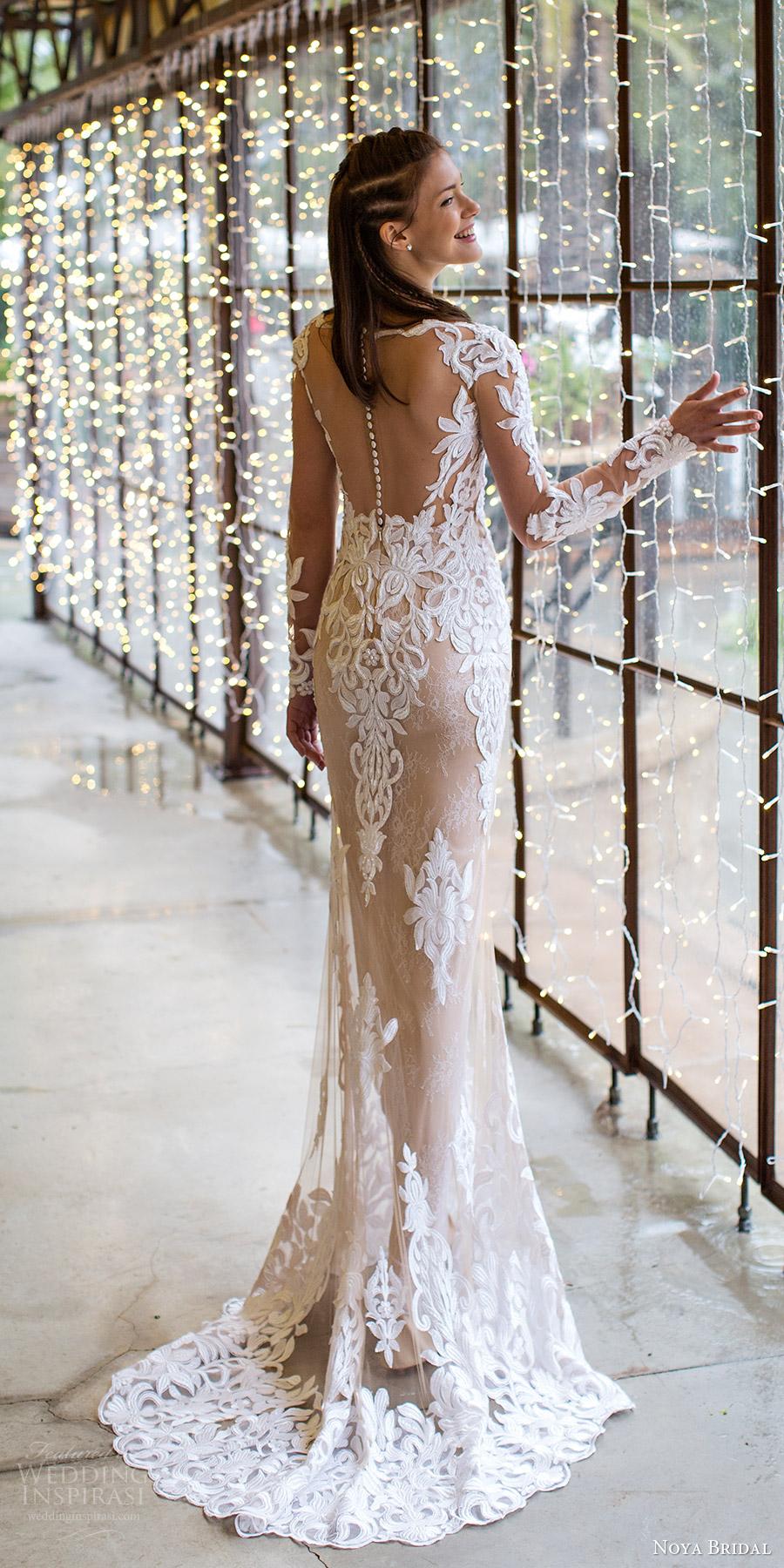 noya bridal 2016 illusion long sleeve scalloped sweetheart illusion jewel sheath wedding dress (1201) bv illusionback train elegant