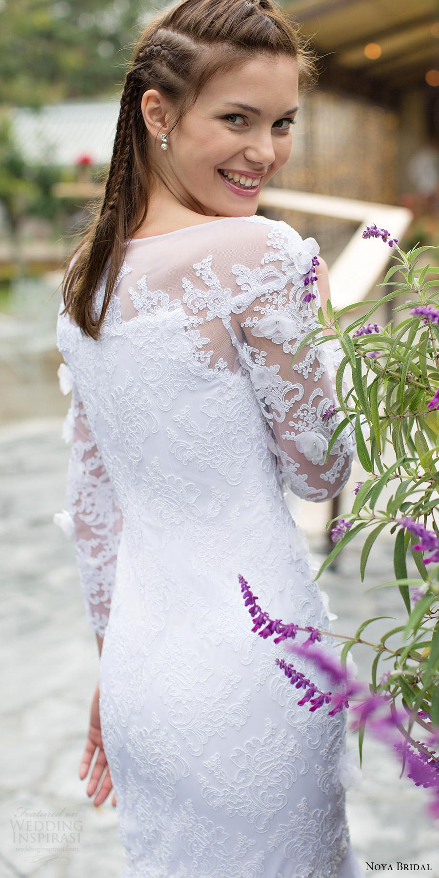 noya bridal 2016 long sleeves sweethart illusion bateau neck fit flare wedding dress (1204) zbv elegant romantic