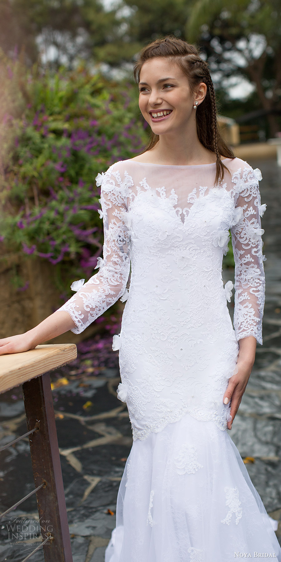 noya bridal 2016 long sleeves sweethart illusion bateau neck fit flare wedding dress (1204) zv elegant romantic