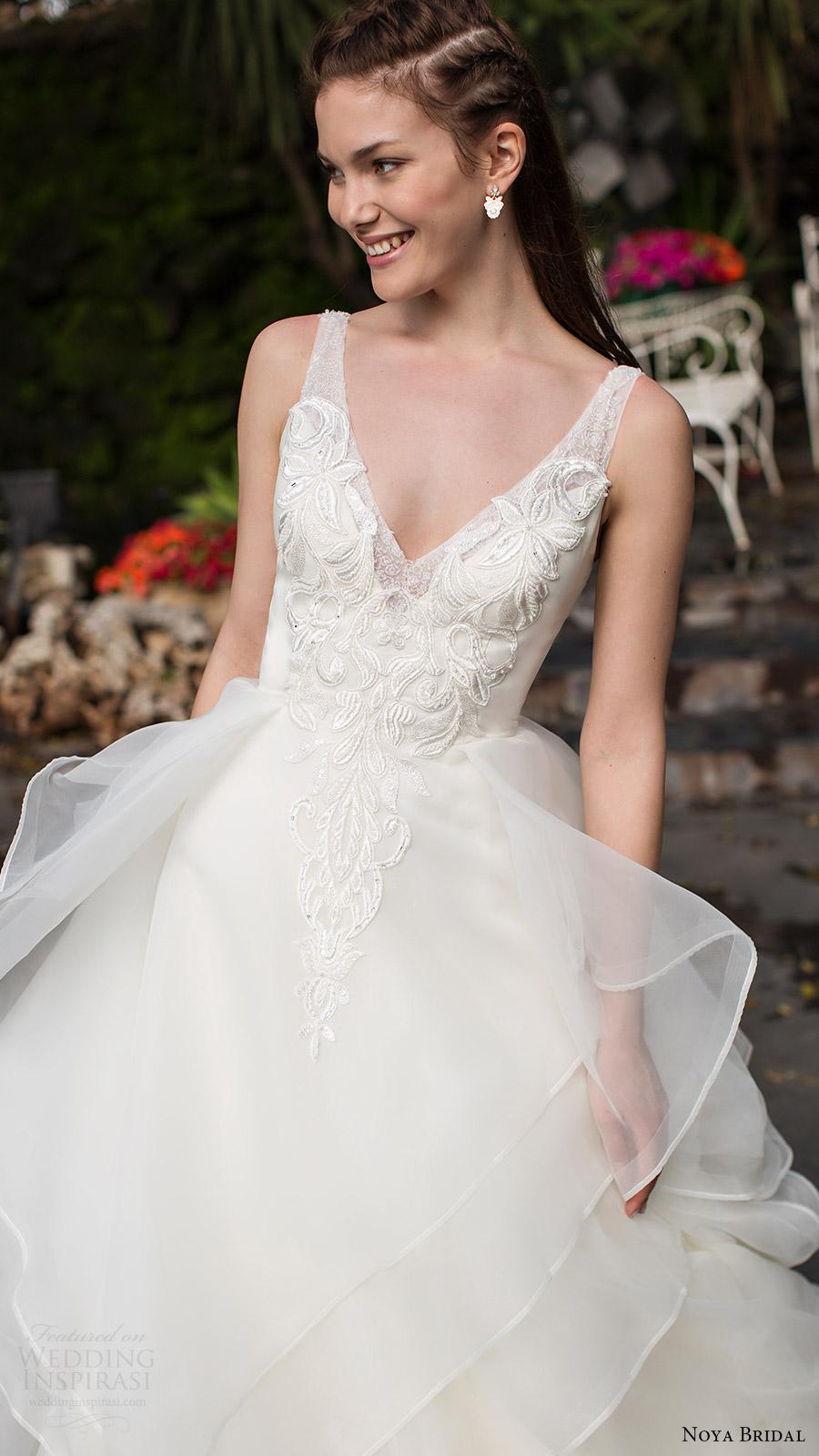 noya bridal 2016 sleeveless straps vneck aline ball gown wedding dress (1209) romantic princess zv