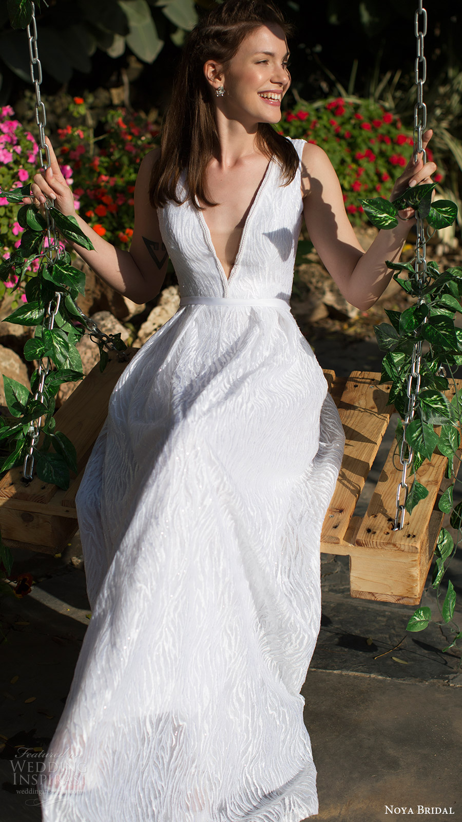 noya bridal 2016 sleeveless thick straps deep vneck aline wedding dress (1212) fv pockets