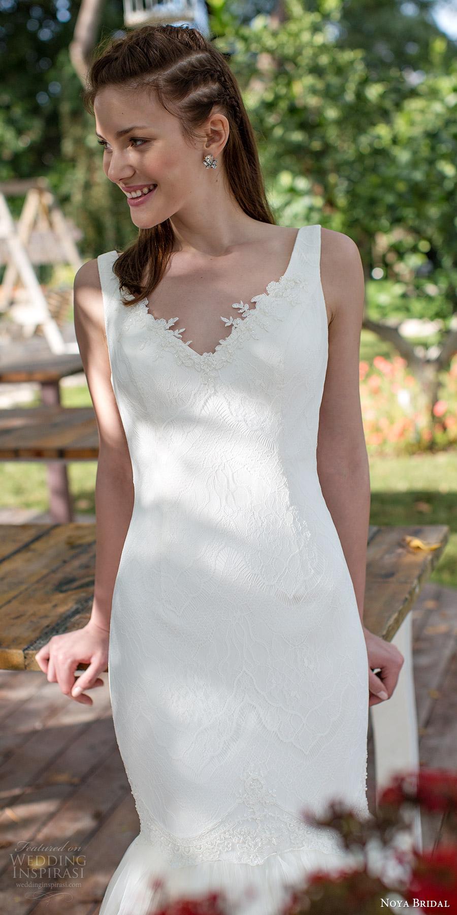 noya bridal 2016 sleeveless v neck illusion jewel lace mermaid fit flare wedding dress (1211) zv romantic