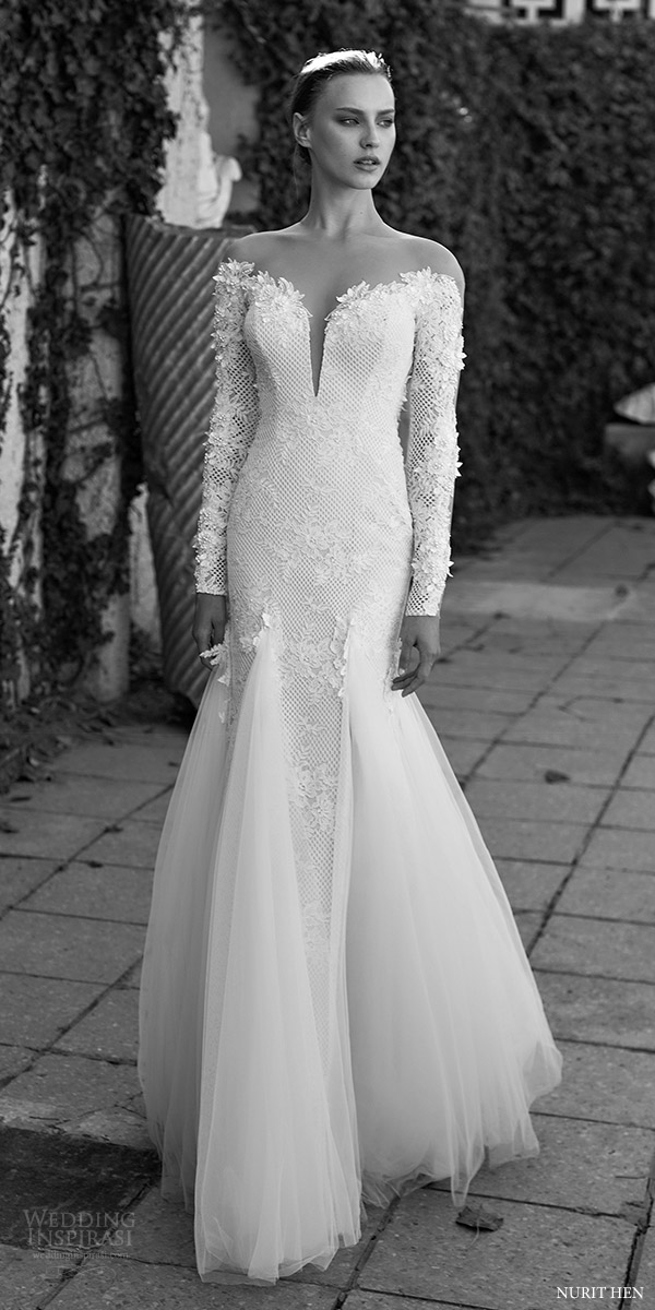 Nurit Hen 2016 Long Sleeves Illusion Off Shoulder Split Sweetheart Mermaid Wedding Dress Lw18