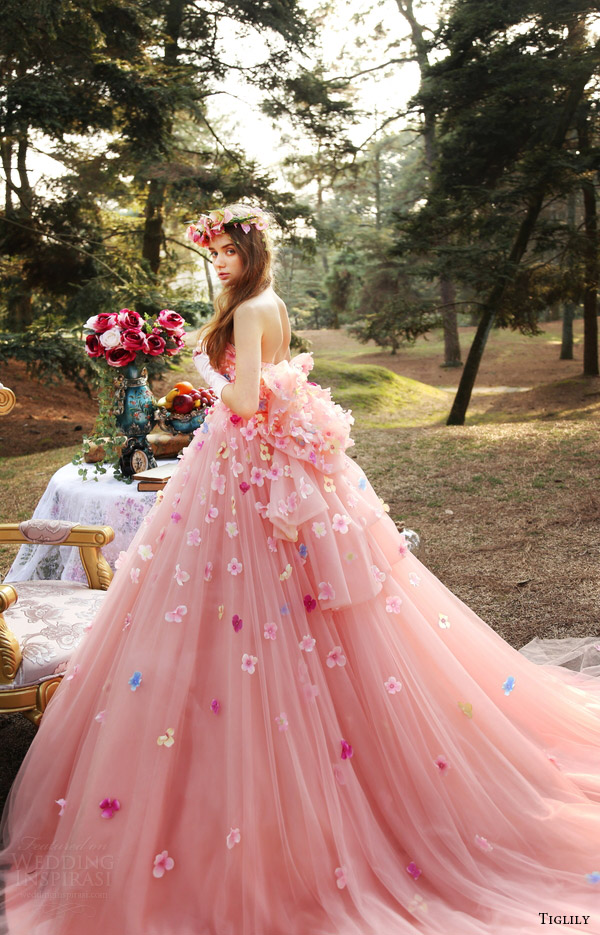tiglily bridal 2016 strapless straightacross ball gown wedding dress (ann) mv pink color romantic