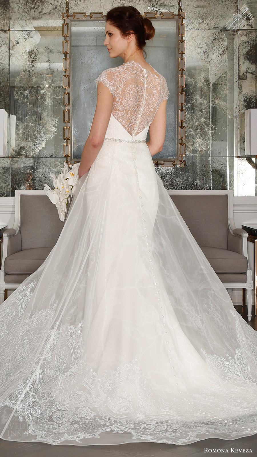 romona keveza bridal spring 2017 cap sleeves sweetheart illusion high neck sheath wedding dress (rk7404) bv optional sheer aline overskirt