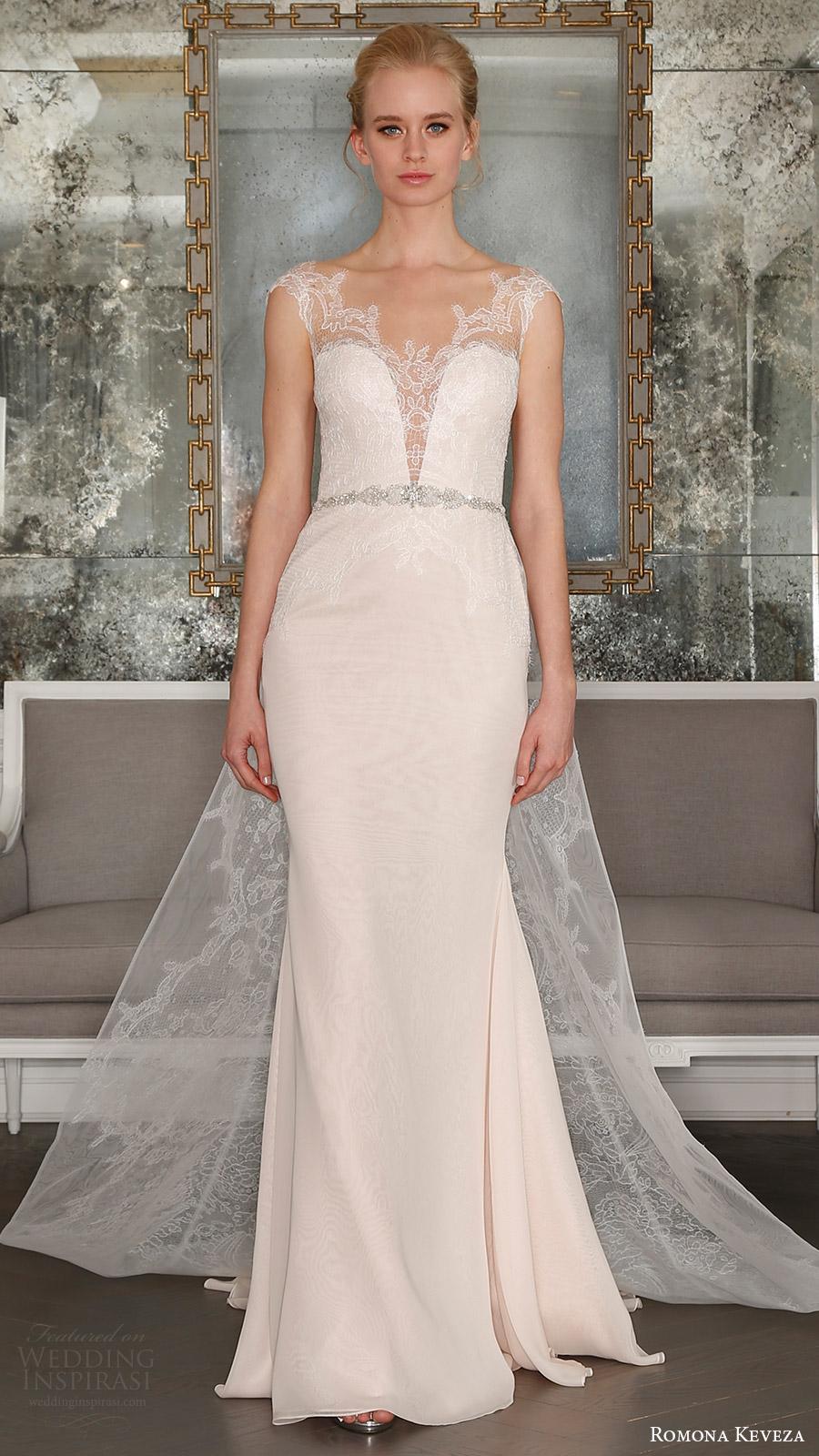 romona keveza bridal spring 2017 illusion cap sleeves sweetheart deep vneck sheath wedding dress (rk7405) mv detachable train