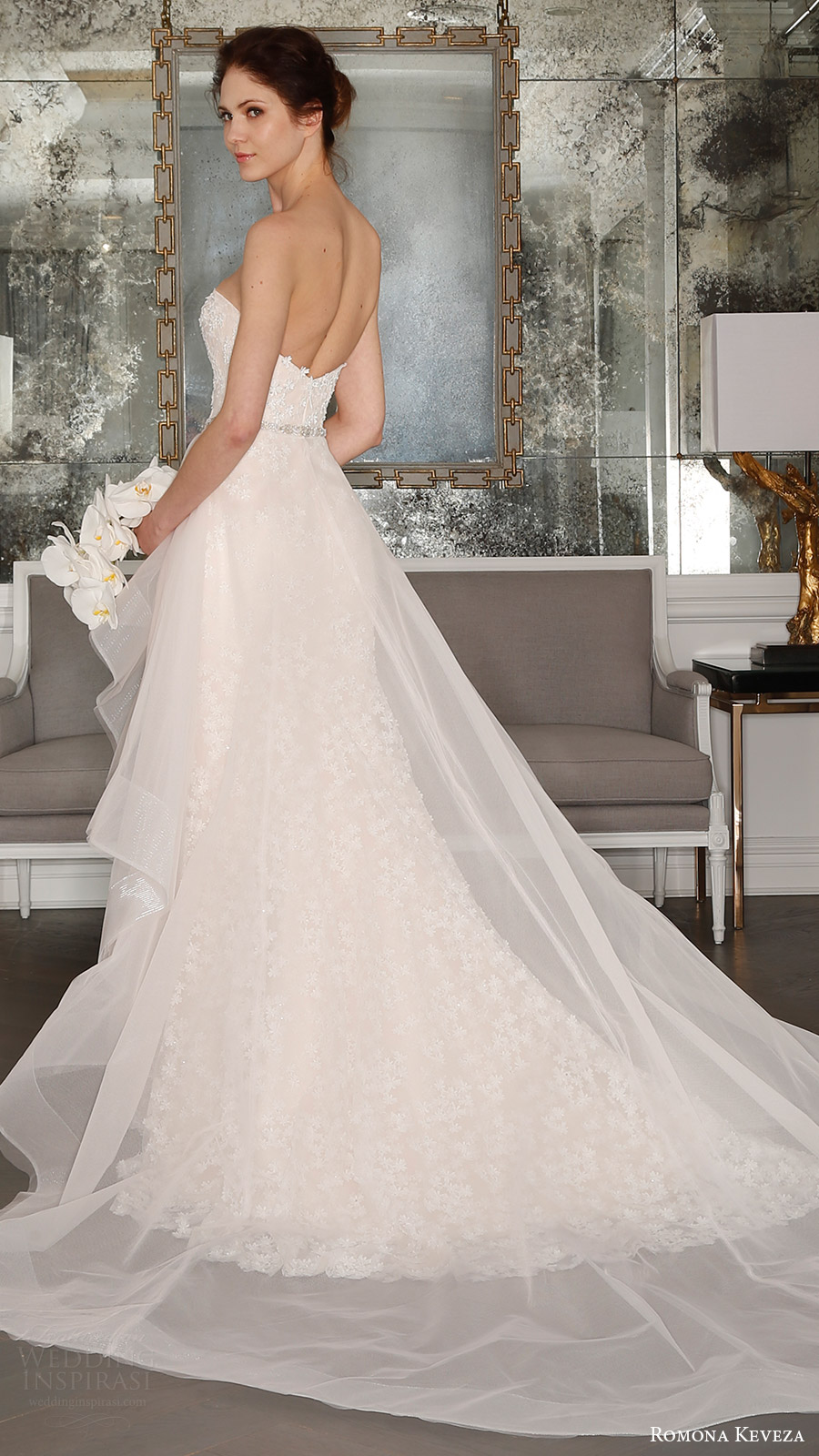 romona keveza bridal spring 2017 strapless sweetheart trumpet wedding dress (rk7408) bv optional sheer aline overskirt train