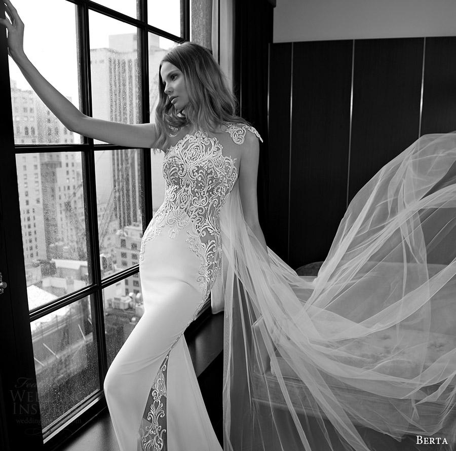 berta bridal fall 2016 cap sleeves illusion neckline sheath wedding dress (16 109) mv train