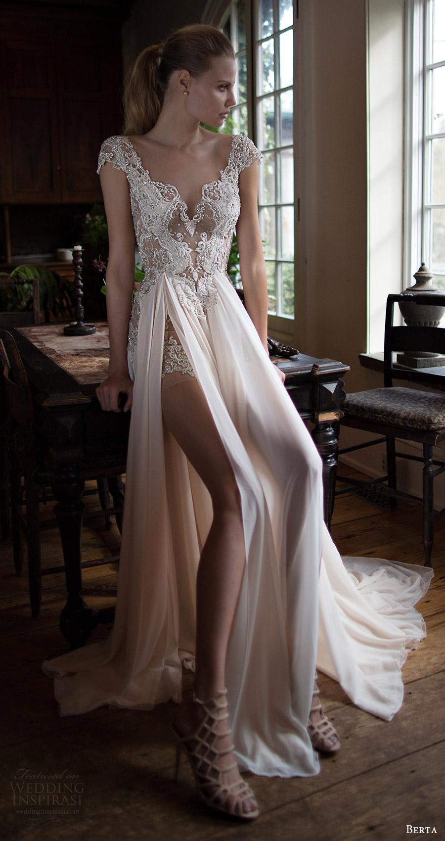 berta bridal fall 2016 cap sleeves sweetheart aline wedding dress slit skirt (16 115) mv