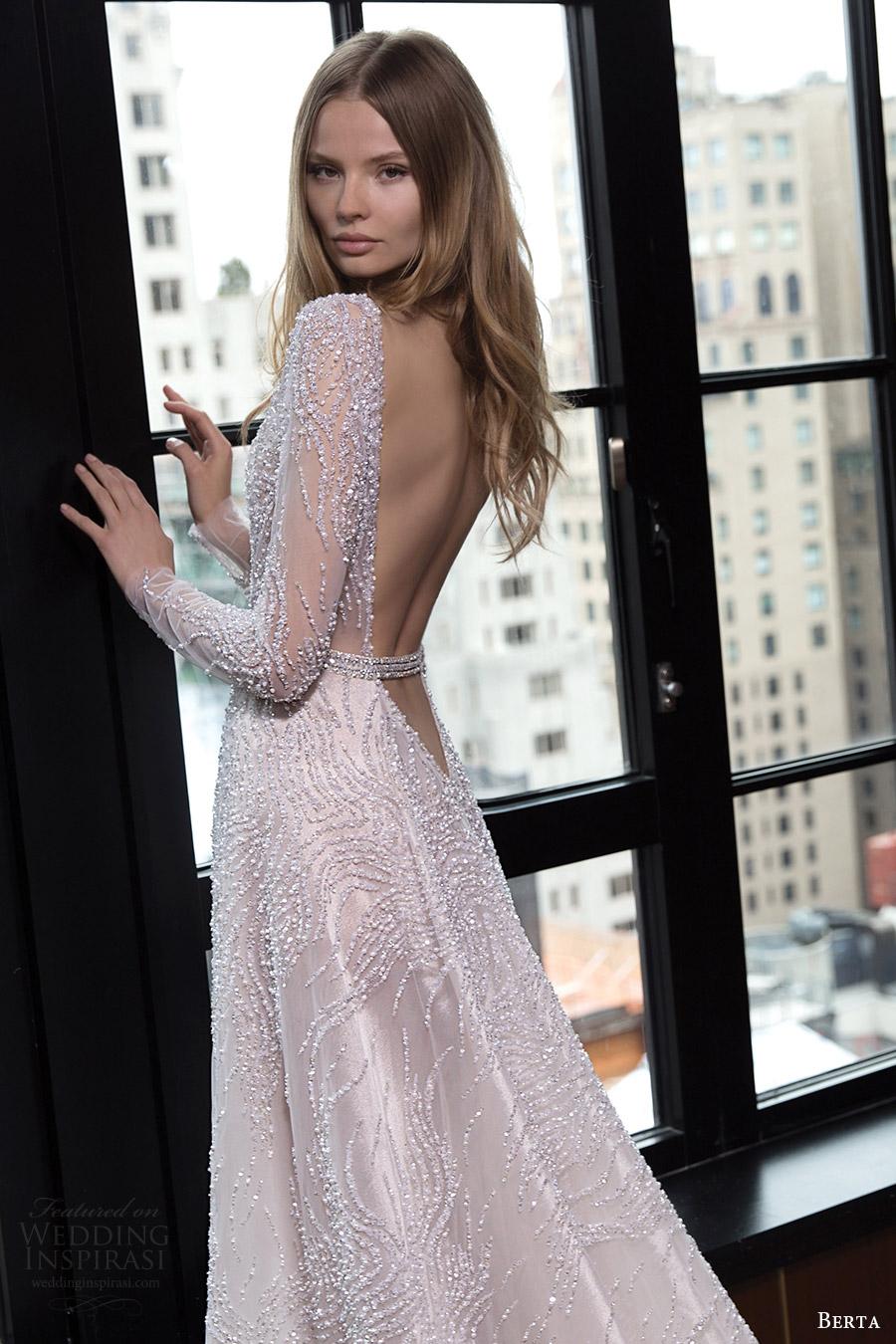 berta bridal fall 2016 long sleeves jewel neck beaded aline wedding dress (16 122) zbv low vback