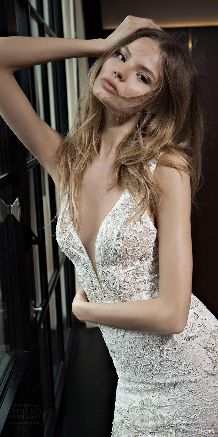 berta bridal fall 2016 sleeveless deep vneck lace wedding dress (16 102) mv