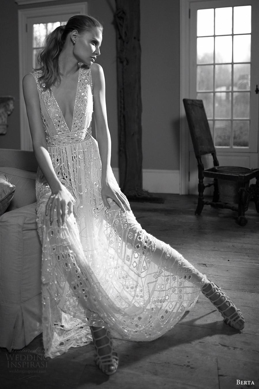 berta bridal fall 2016 sleeveless deep vneck wedding dress (16 118) mv
